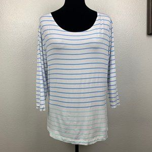 Vineyard Vines White Blue Striped Pullover Top